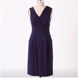 anthropologie delettA navy knot front dress